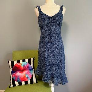 Donna Ricco Blue Leopard Asymmetrical Dress D2